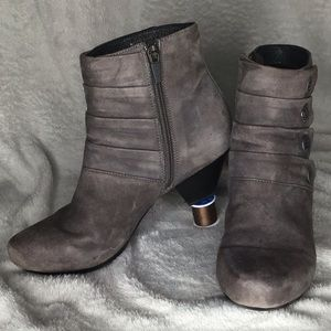 Dansko Gray Suede Pleated Button Zip Ankle Boot